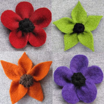 handmade jewellery felt flower brooches