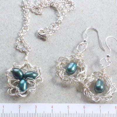 handmade jewellery made in Australia bird's nest pendant and earrings set