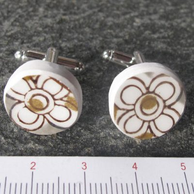 handmade jewellery recycled broken plate cuff links
