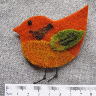 handmade bird brooch