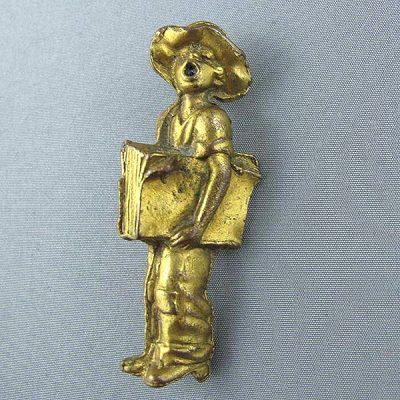 Cast Bronze Paperboy Brooch